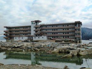 Matsubara Apartment building in Minamisanriku, Japan, that served as a successful Vertical Evacuation Refuge saving 44 lives during the Tohoku Tsunami in 2011.